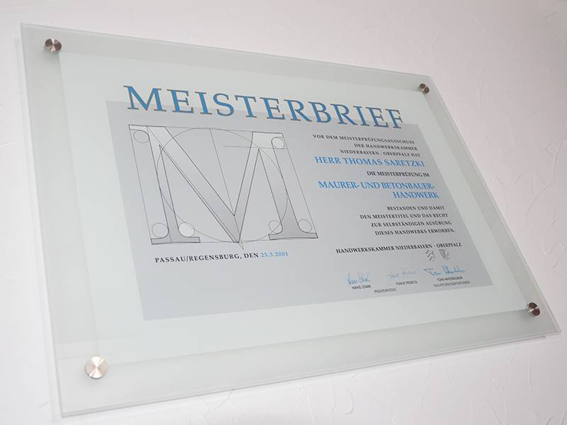 Meisterbrief in Glas